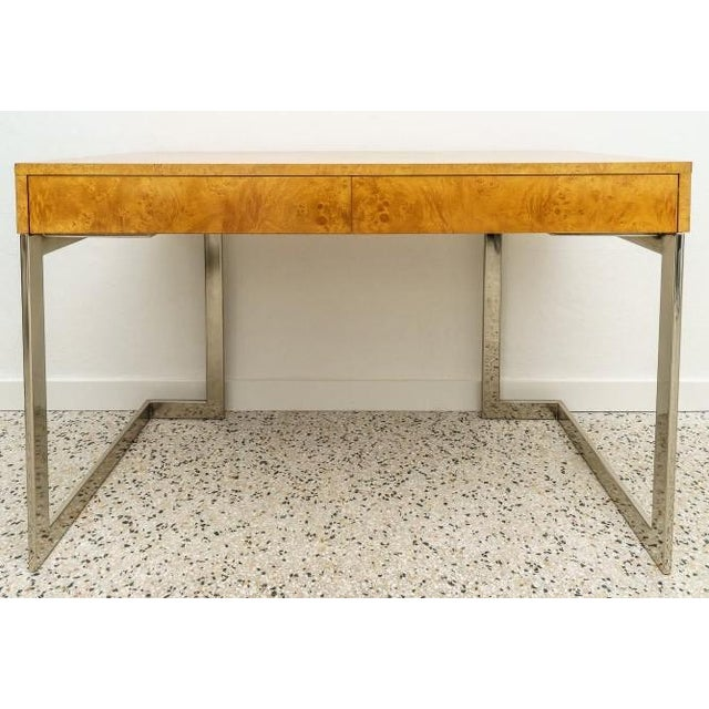Contemporary Burlwood and Nickel Writing Desk by Milo Baughman For Sale - Image 3 of 12