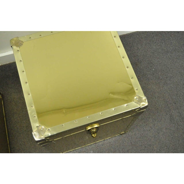 Gold 1970s Hollywood Regency Brass Clad Trunks Chest Side Tables - a Pair For Sale - Image 8 of 11