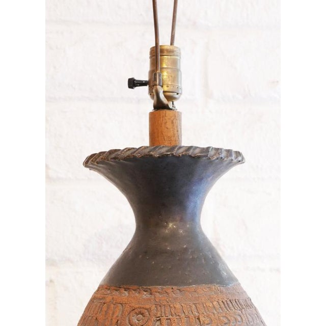 Incised Pottery Lamp For Sale In Palm Springs - Image 6 of 8