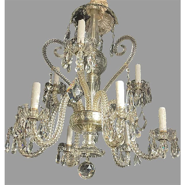 Fine Cut Crystal Venetian Style Chandelier For Sale In New York - Image 6 of 13