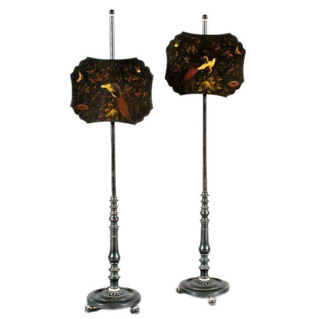 Traditional One Pair of Lacquered Pole Fire Screens For Sale - Image 3 of 3