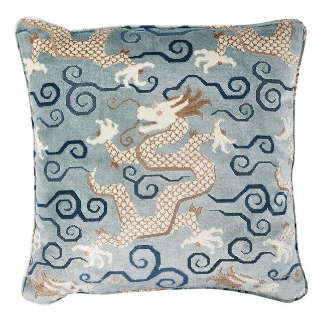 Schumacher Schumacher Bixi Velvet Pillow in Celestine For Sale - Image 4 of 4