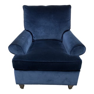 Hickory Chair Furniture Blue Velvet Arm Chair For Sale