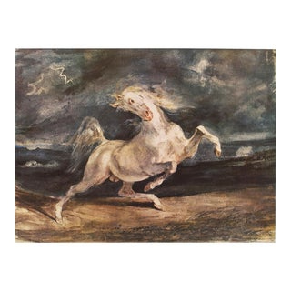 """1959 Eugene Delacroix """"Horse Frightened by Storm"""", Large Vintage Lithograph For Sale"""