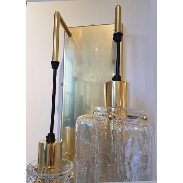 Murano Glass Kalmar Brass Mid Century Modern 2-Lights Sconces - a pair For Sale In Boston - Image 6 of 9