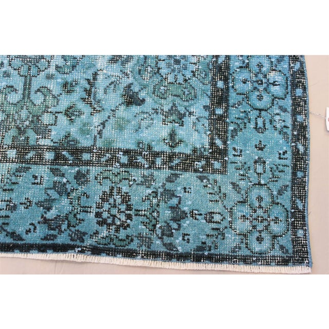 Turquoise Over-Dyed Rug - 5′5″ × 9'8″ For Sale In San Diego - Image 6 of 10