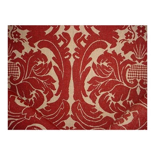 Scalamandre French Damask Hess Brick Jute Print Drapery Upholstery Fabric - 2-1/2y For Sale