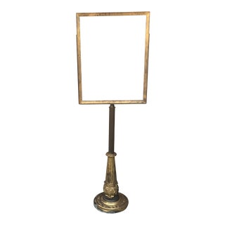Vintage Ornate Brass Pedestal Sign Holder