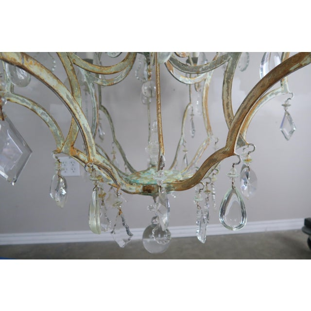 Monumental Painted Wrought Iron Crystal Chandelier For Sale - Image 10 of 11