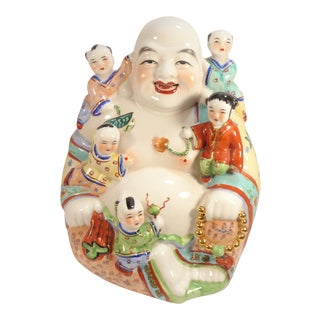 Vintage Chinese Porcelain Happy Laughing Buddha With Children