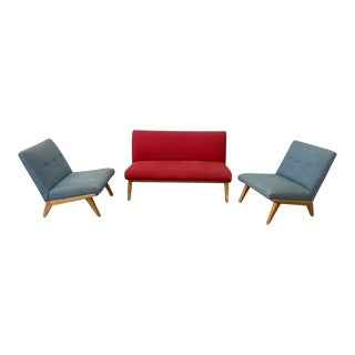 Mid-Century Knoll by Jens Risom Settee and Chairs - Set of 3 For Sale