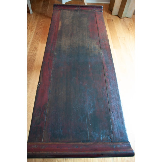 Mid 20th Century Chinese Red Altar Console Table For Sale - Image 5 of 13