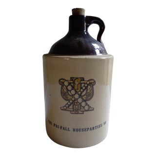Vintage 1960s Greek Fraternity 'Chi Psi' Stoneware Jug