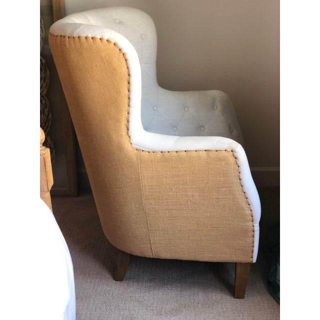 White Tufted Arm Chair For Sale - Image 8 of 9
