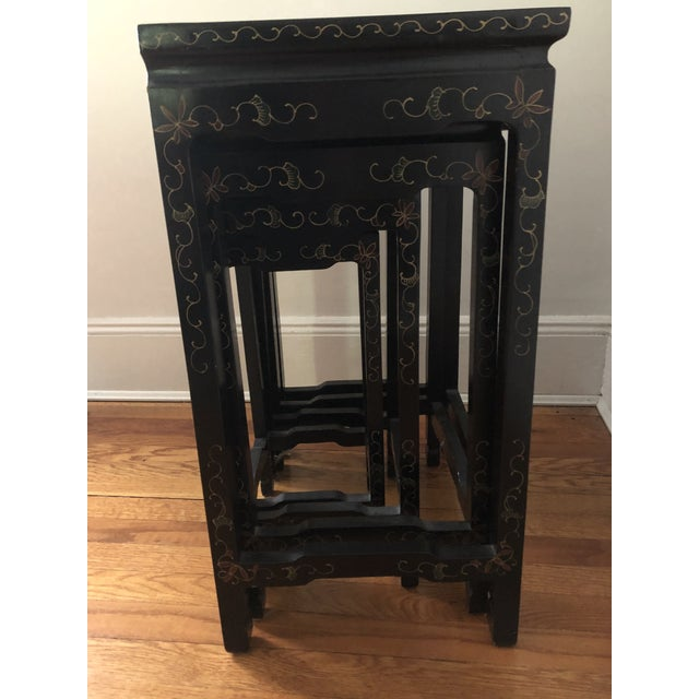 Black Mid Century Asian Black Lacquer Nesting Tables - Set of 4 For Sale - Image 8 of 13