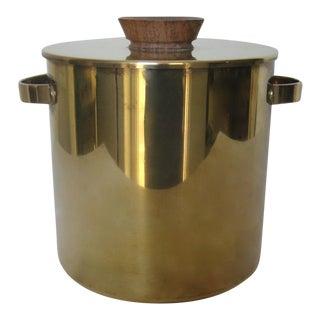 Mid-Century Italian Brass & Teak Ice Bucket