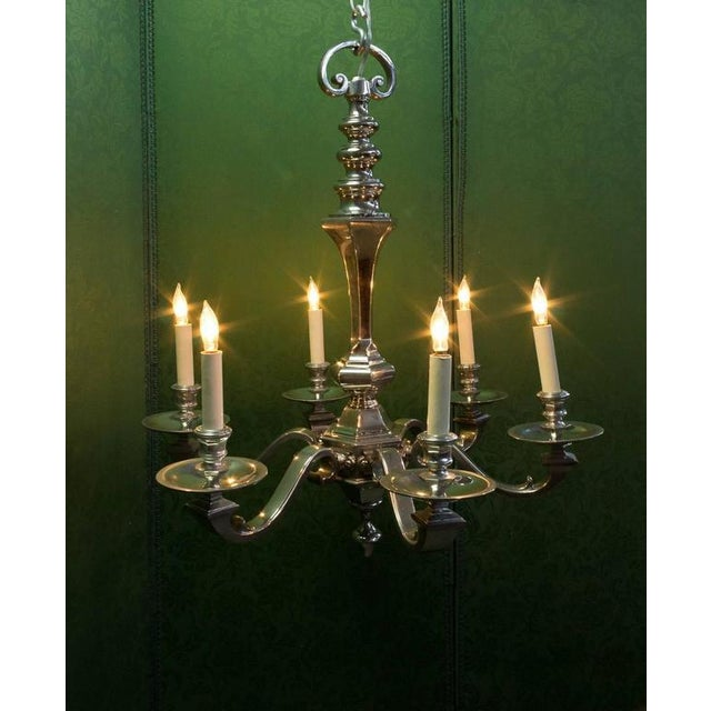 Gold 1940s French Nickel Plated Bronze Six-arm Chandelier For Sale - Image 8 of 10