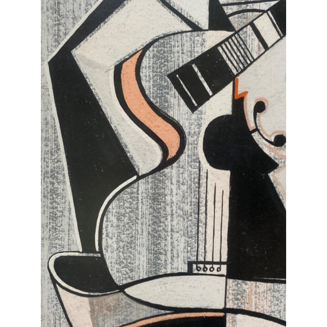 Mid-Century Modern Cubist Pastels Painting of Guitar For Sale - Image 12 of 13