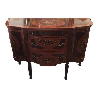Wooden Inlaid Neoclassical Sideboard For Sale