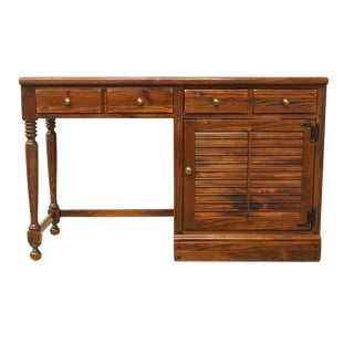 "20th Century Early American Ethan Allen Pine Old Tavern Shutter Door 48"" Student / Writing Desk For Sale"