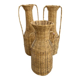 Set of 3 Vintage Tall Wicker Floor Vases, Baskets For Sale