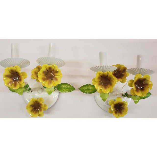 Italian Tole Yellow Daffodil Sconces - a Pair For Sale - Image 10 of 10