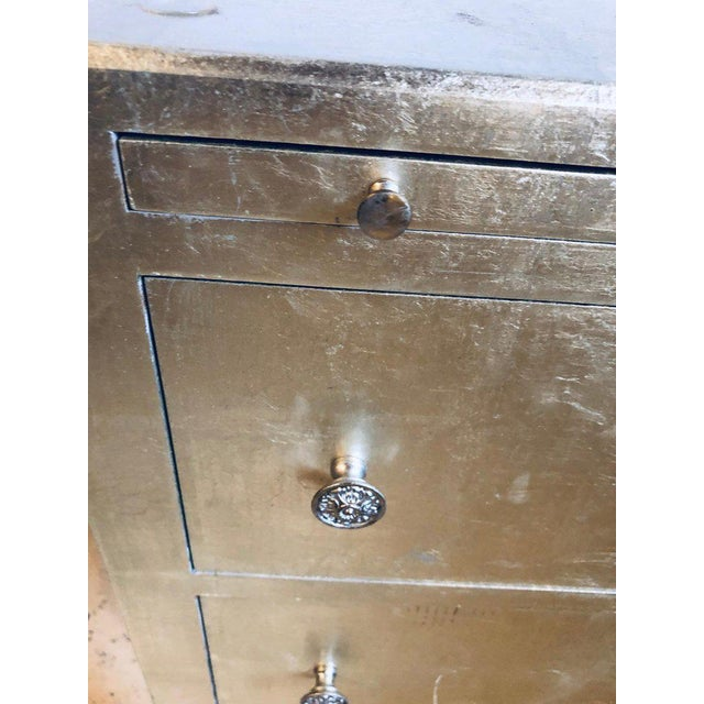 Pair of Silver Gilt Commodes Chest of Drawers or Nightstands Mid-Century Modern For Sale - Image 10 of 12