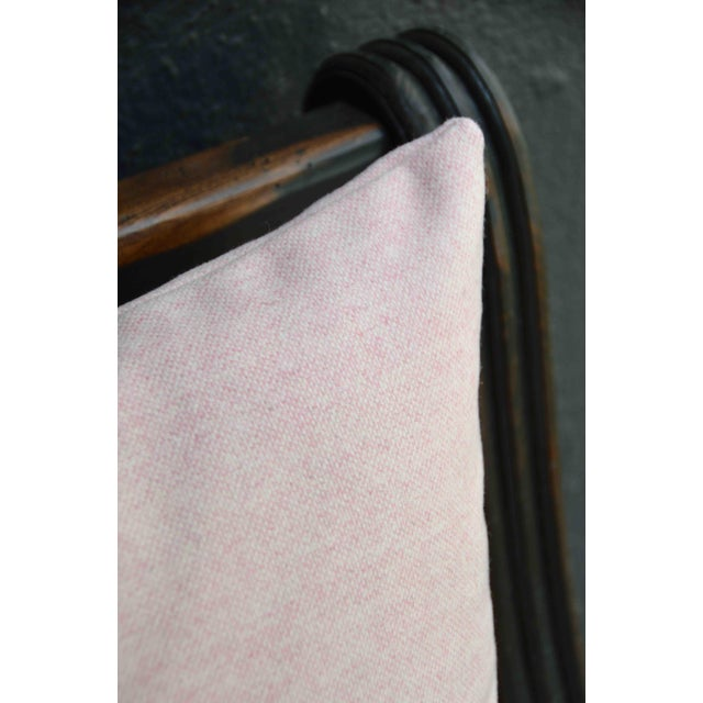 Contemporary FirmaMenta Italian Soft Virgin Wool Pink and White Lumbar Pillow For Sale - Image 3 of 4