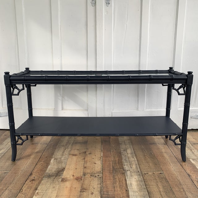 Thomasville Thomasville Allegro Console Sofa Table Painted Navy For Sale - Image 4 of 11