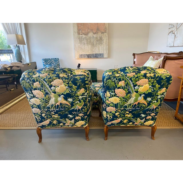 Gorgeous French bergere chairs with Parson's style ottoman. Quilted fabric is in mint condition and features birds and...