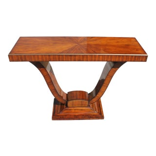 1940s French Art Deco Exotic Macassar Ebony'' Sunburst'' Console Table For Sale