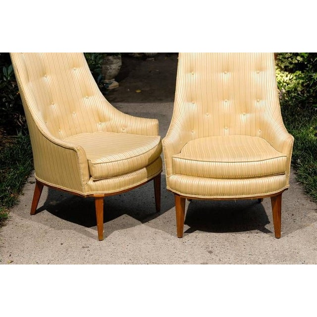 Mid-Century Modern Pair of Mid Century Tufted High Back Chairs by Tomlinson For Sale - Image 3 of 5