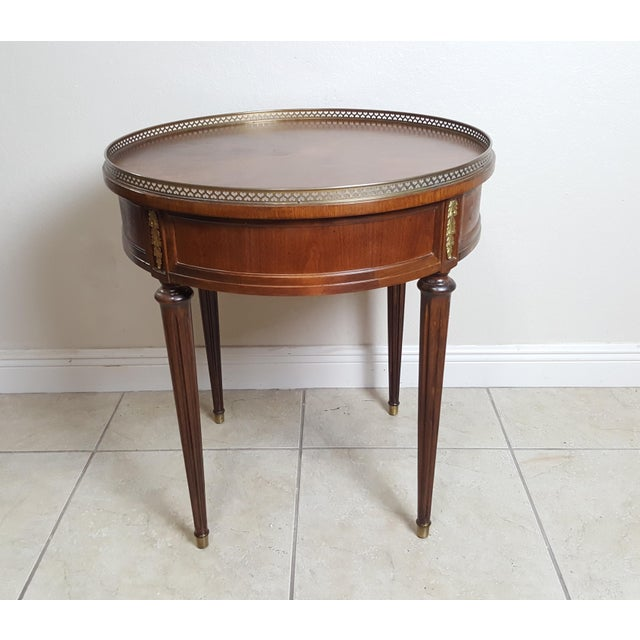 Henredon Empire Style Round Wood With Brass Border Tray End Table For Sale - Image 9 of 13