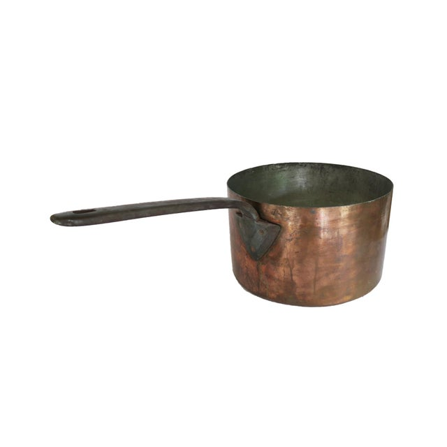 Antique 12 Quart Copper Pot Insert With Long Cast Iron Handle For Sale In Houston - Image 6 of 6