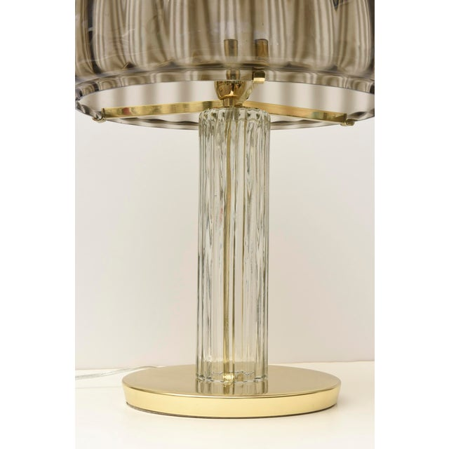 Art Deco Italian Vintage Murano Vistosi Glass and Polished Brass Dome Table/Desk Lamp For Sale - Image 3 of 10