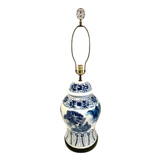 Chapman Blue and White Chinoiserie Porcelain Lamp With Finial For Sale