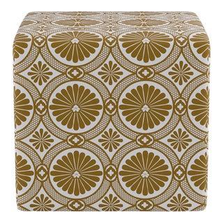 Cube Ottoman in Gold Lellani For Sale