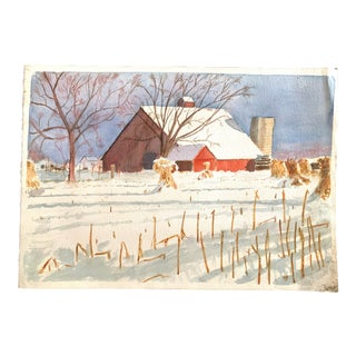 Red Barn Farm Watercolor Painting For Sale