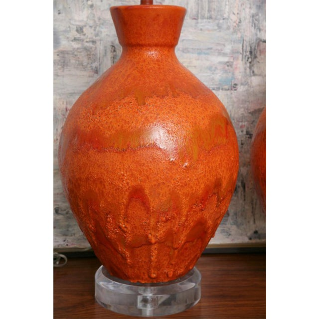 1960s Pair of Monumental Sized Orange Mottled Glaze Ceramic Lamps For Sale - Image 5 of 8