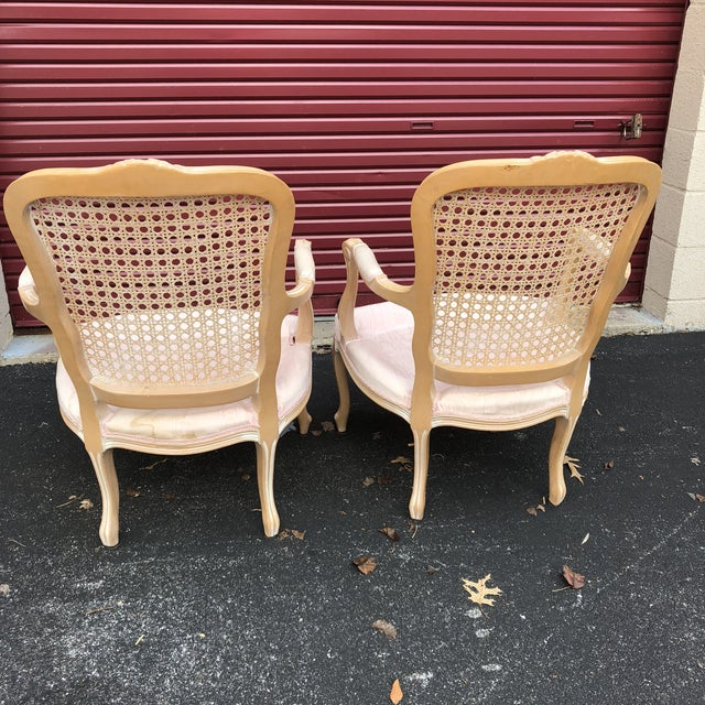 Pair of Vintage Chateau d'Ax Louis XV Bergere French Country Provincial Chairs For Sale - Image 4 of 12