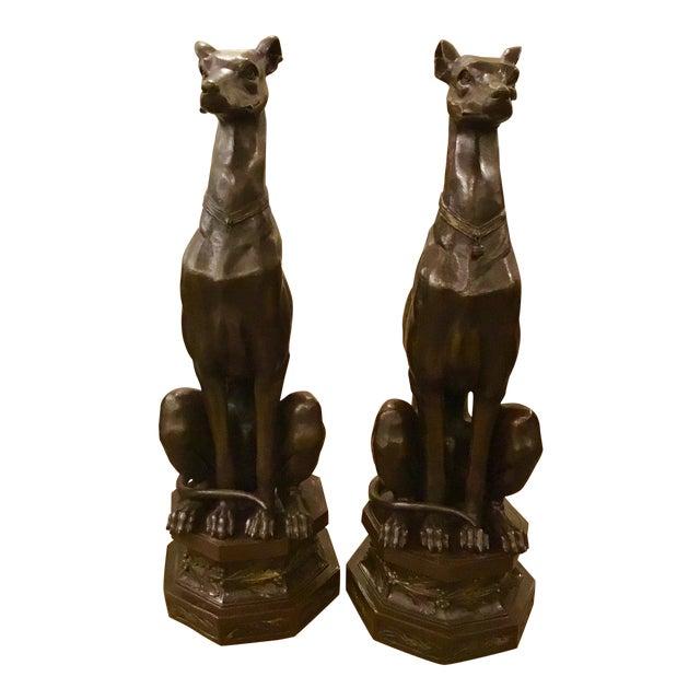 Pair of Bronze Pierre-Jules Mene Bronze Whippet Dogs - Image 1 of 8