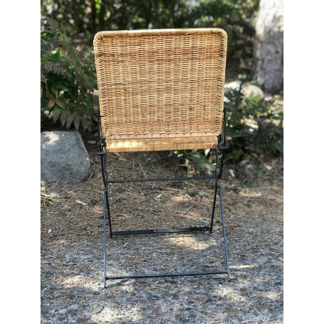 Mid-Century Modern 1960s Boho Chic Rattan & Wrought Iron Folding Chair For Sale - Image 3 of 9