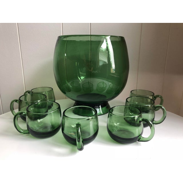 Art Deco Mid-Century Hand Blown Green Glass Punch Bowl Set - 8 Pc. Set For Sale - Image 3 of 3