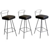 Image of Mid-Century Modern Wrought Iron Tony Paul Style Swivel Bar Stools- Set of 3 For Sale