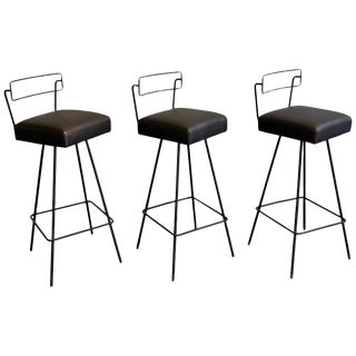 Mid-Century Modern Wrought Iron Tony Paul Style Swivel Bar Stools- Set of 3 For Sale