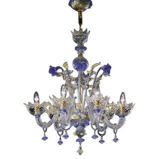 Hand Blown Murano Glass Six-Light Chandelier For Sale