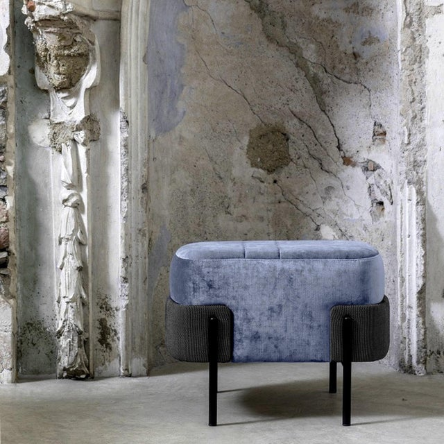 Used individually or grouped, as a central seat or alongside a sofa, this 1572 Pouf is characterized by a voluminous...