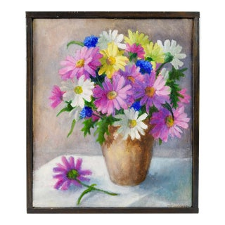Pink & White Daisy Still Life Painting For Sale