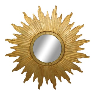 Spanish Gilt Wood Convex Sunburst Mirror For Sale
