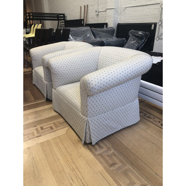 Contemporary Custom Rolled Arm Swivel Chairs - a Pair For Sale - Image 3 of 9